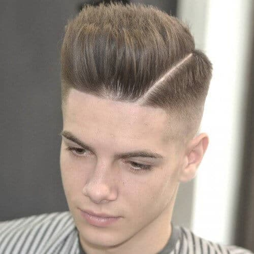 Deep Side Razor Part Feathered Pompadour