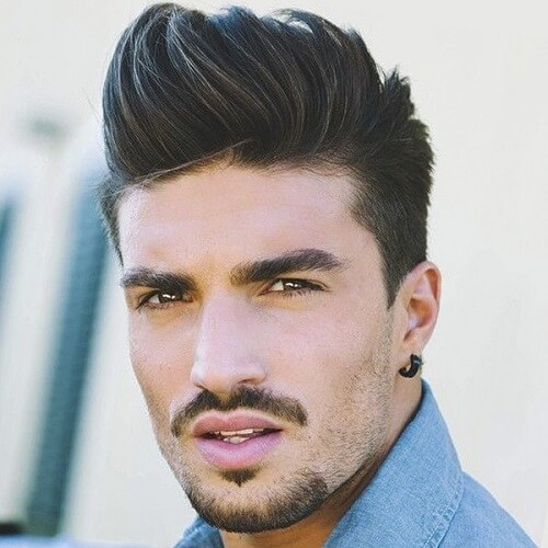 feathered pompadour hairstyle for men