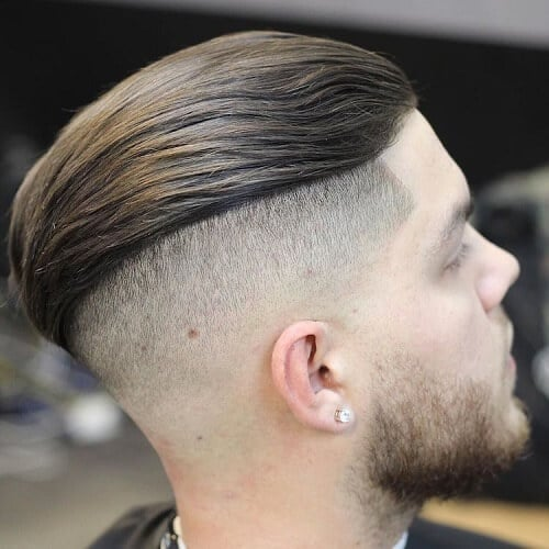back swept top and faded sides pompadour
