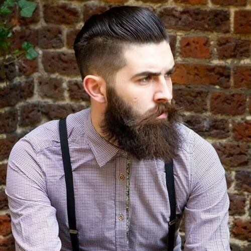 pompadour and beard