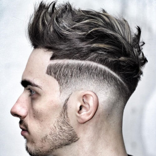 razor cut feathered pompadour