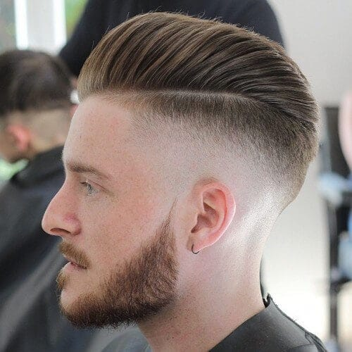 taper fade side swept pompadour