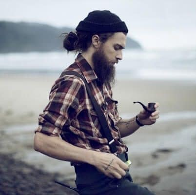 Hipster with curls