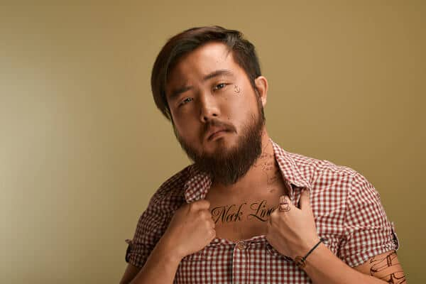 Asian with long manly goatee