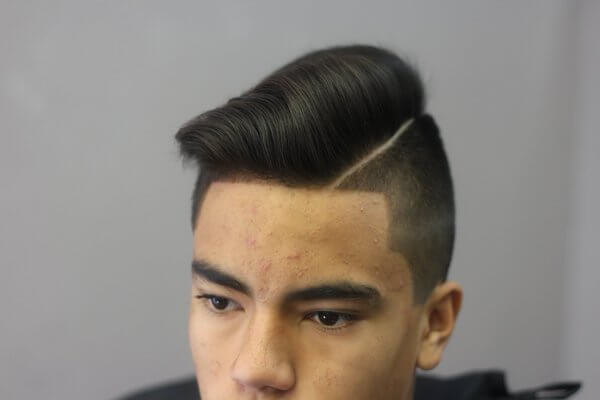 comb over and sided taper cut