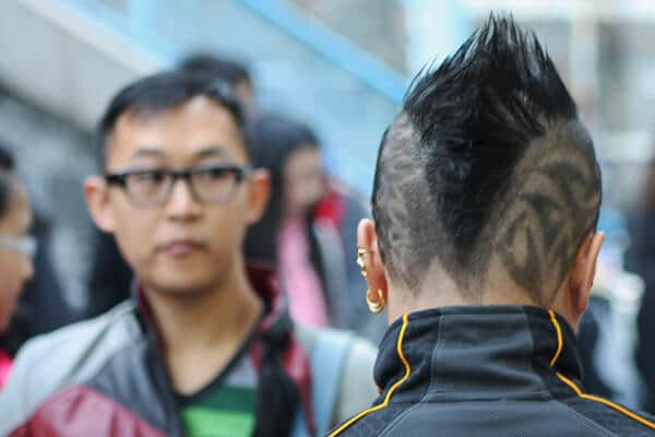 hair tattoo and punk haircut