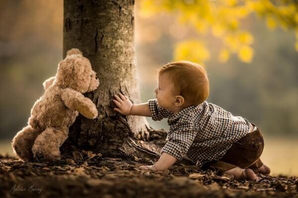 little boy in woods