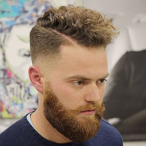 brown curly comb over haircut