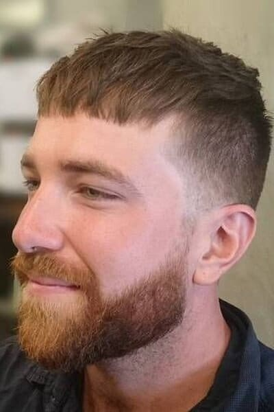 Caesar Cut with Faded sides