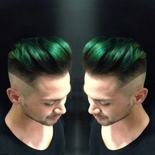 green mid fade haircut