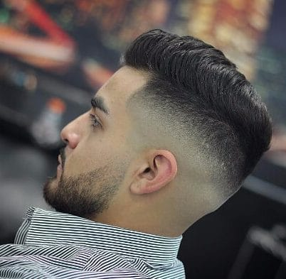 Side Part Haircut with Short Stubble
