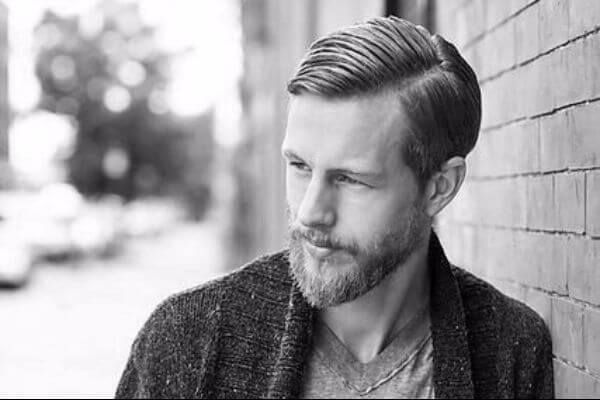 Stylish Comb Over Haircut with Beard