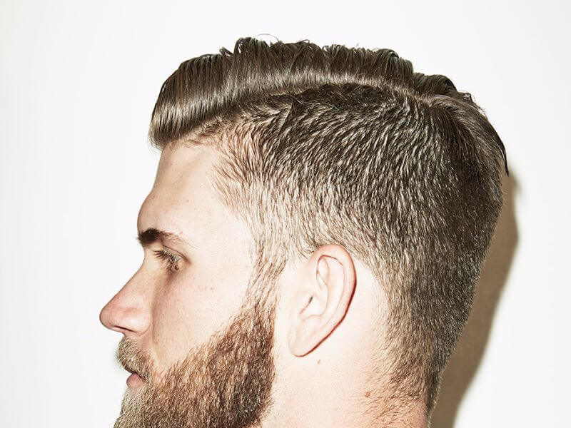 close up of bryce harper's profile