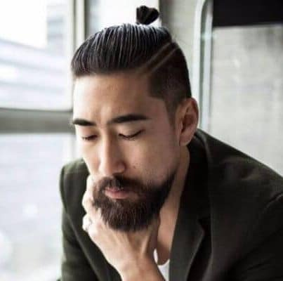Tiny Man Bun with Shaved Sides Hairstyle