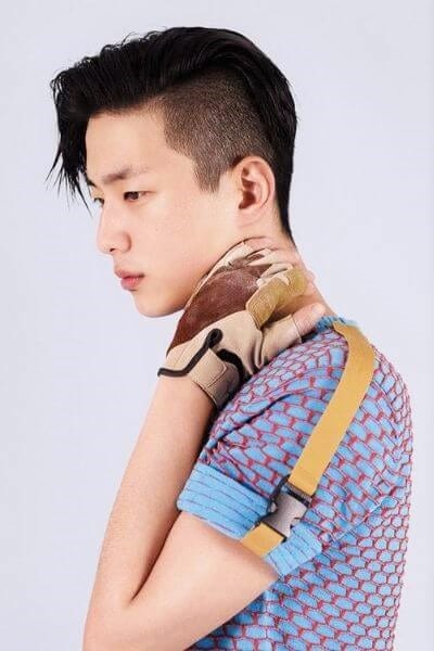 Side Swept Asian Undercut Hairstyle