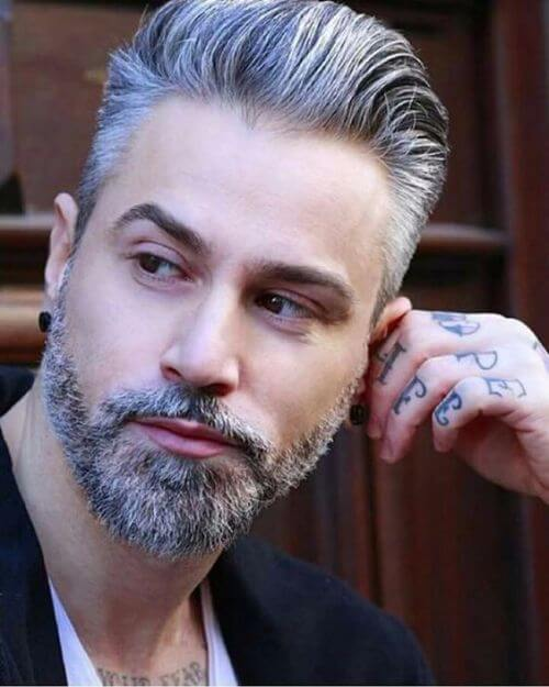 amazing hipster haircut for men with grey hair