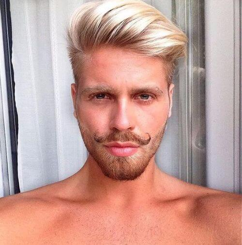 blonde parted long top hipster haircut