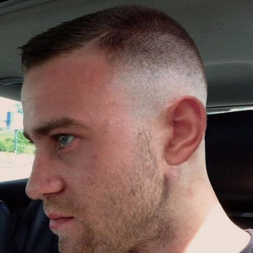 buzz cut with faux quiff