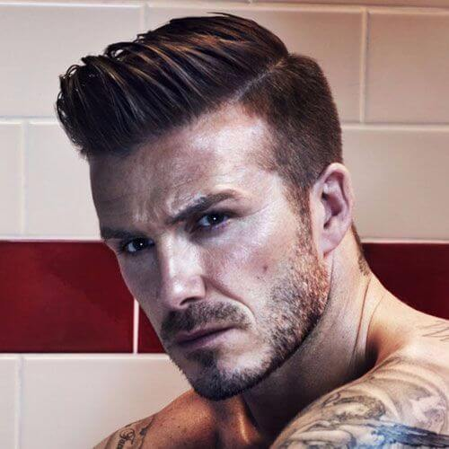 david beckham hair stylized short side long top