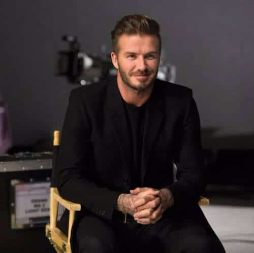 david beckham hair swept-back and trimmed beard