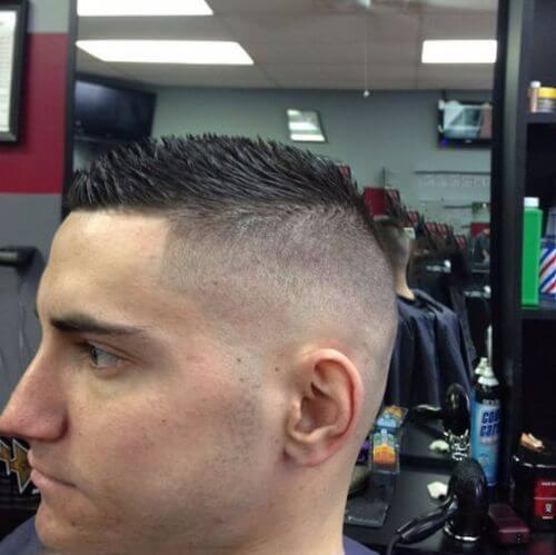 high fade spiky military cut