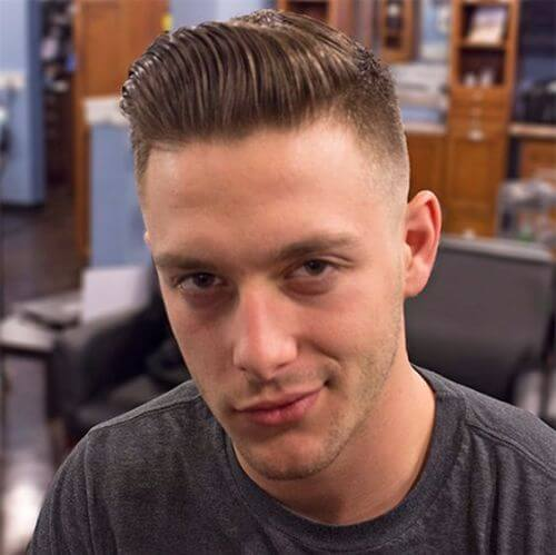 military haircut with short Pompadour