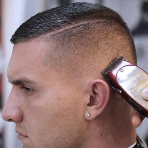 military-inspired buzz cuts and beard