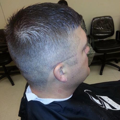 short military haircut with line up