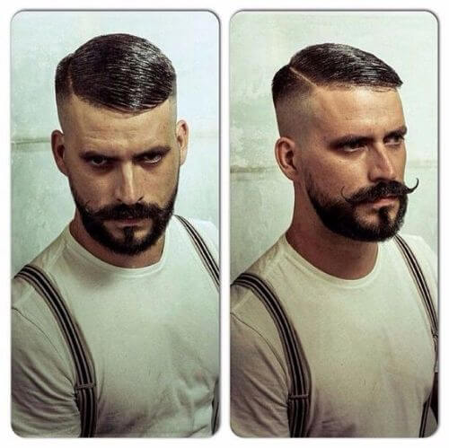 side parted short vintage hipster haircut