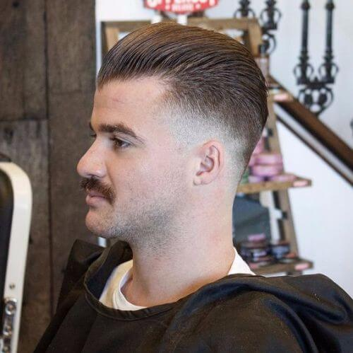 swept-back military cut