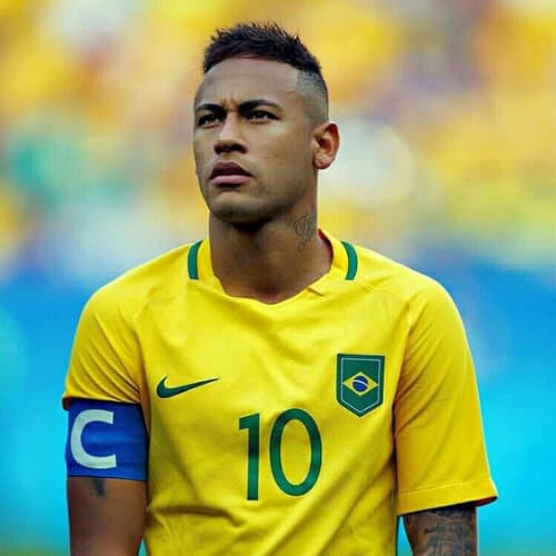 neymar haircut faded sides short spiky top