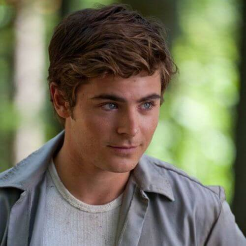 Zac Efron Hair Side Parted and Wavy