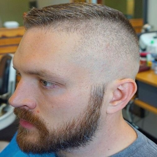 blonde man with beard and asymmetrical high and tight