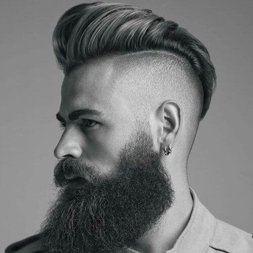 man with beard and a high and tight pomp