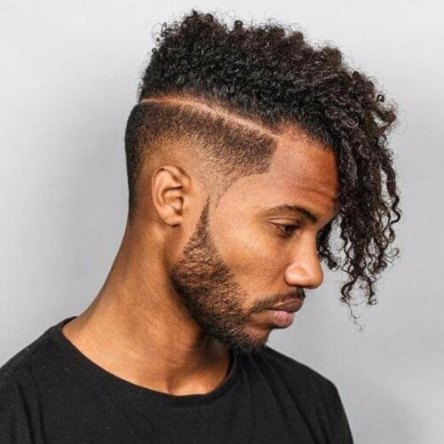 Afro Hairstyle Side Swept with an Undercut