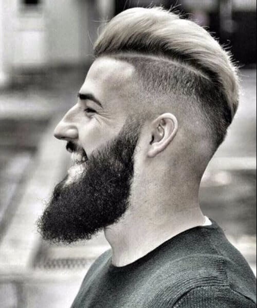 High Fade with Hard Part and Textured Slick Back haircut