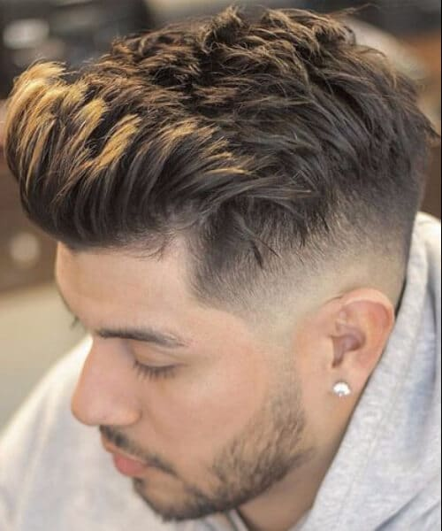 Low Skin Fade with Brushed Up Fringe mens hairstyles
