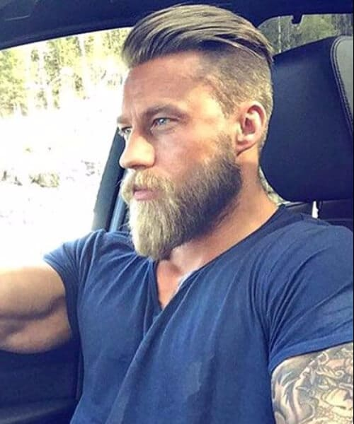 Undercut with Slick Back haircut and Beard