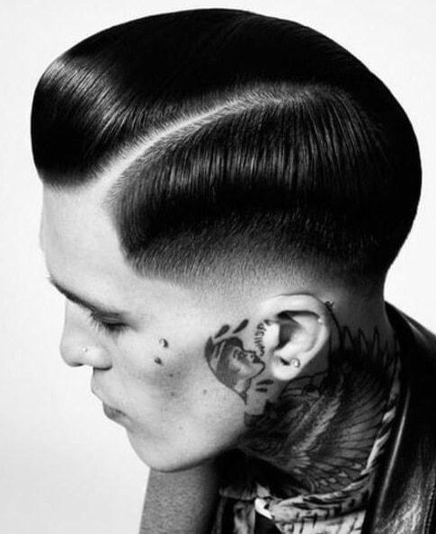 artistic type slick back haircut