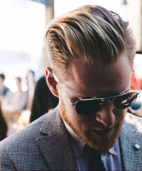blonde cropped sides slick back haircut