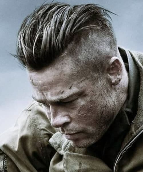 brad pitt fury spiky slick back haircut