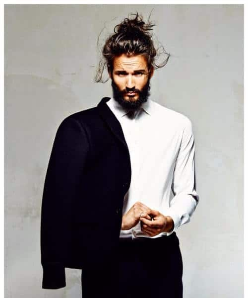 business messy top knot men