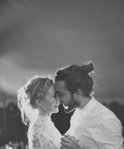 newly married top knot men