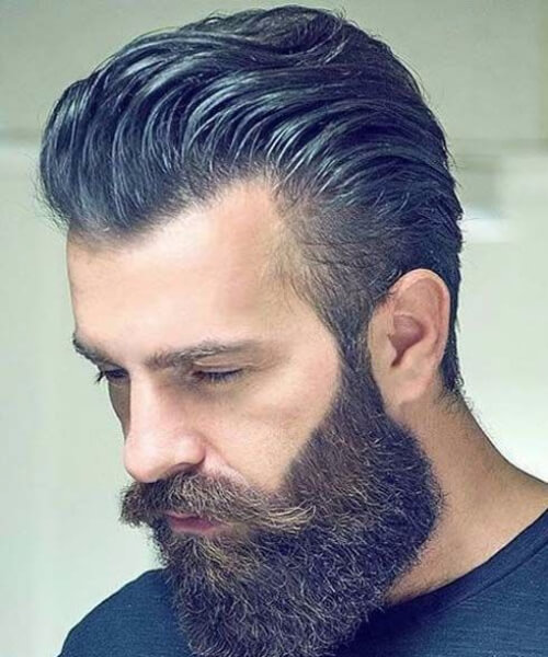 pompadour thick beard mens hairstyles