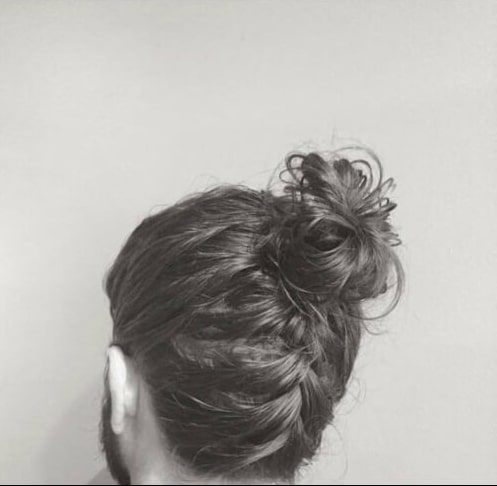top knot men french braid