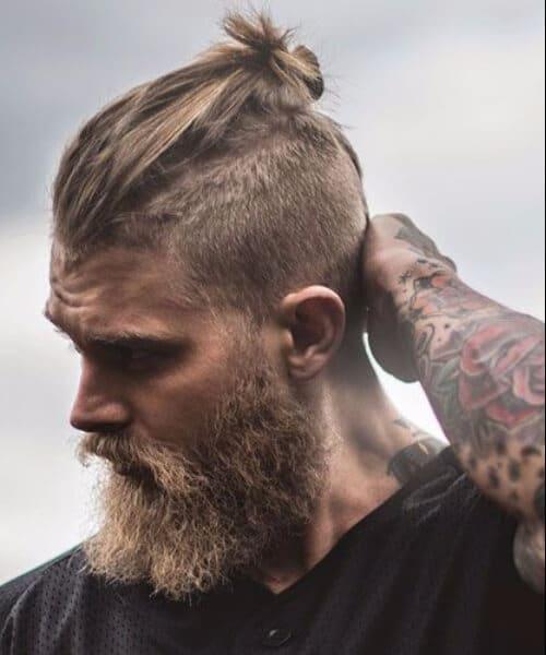 top knot men with beard
