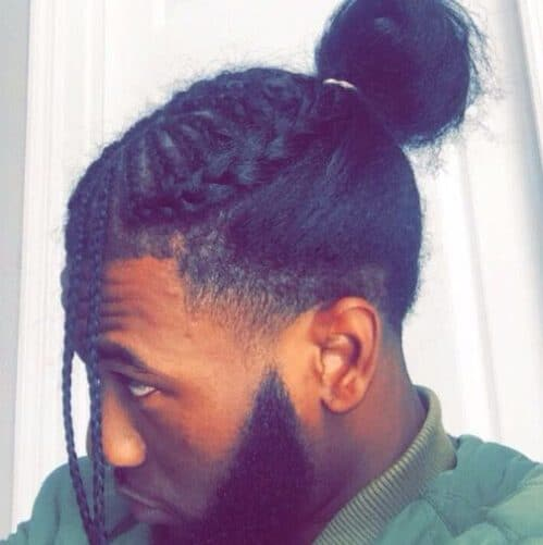 black men hairstyles top knot front braids