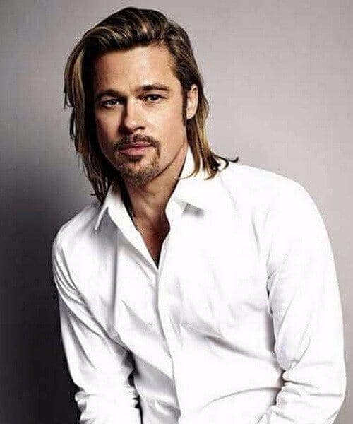 brad pitt medium hairstyles for men