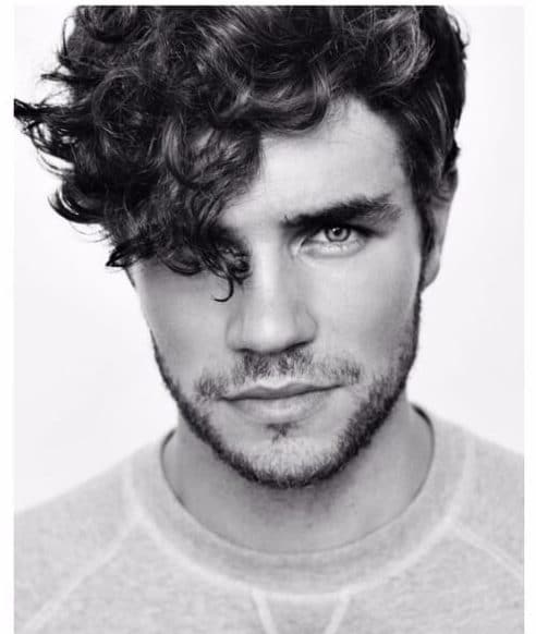 curly bangs medium hairstyles for men