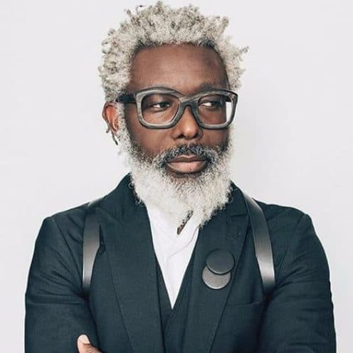 salt and pepper hair white beard black men hairstyles
